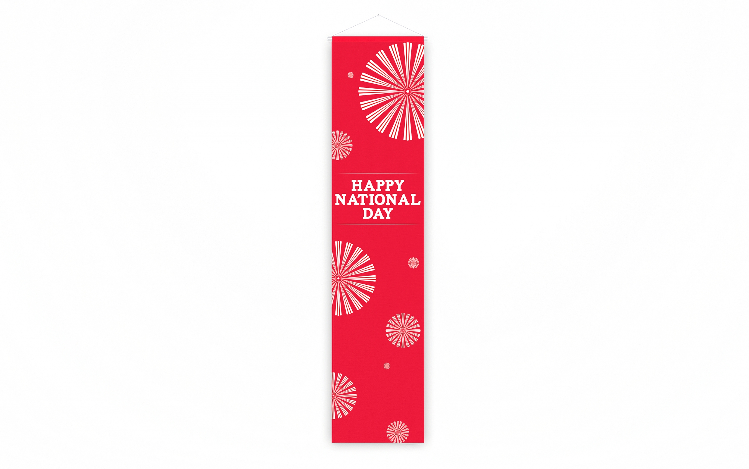 Singapore National Day decoration vertical banner in white fireworks and red background